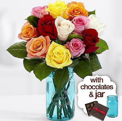 12 Rainbow Mother's Day Roses with Blue Mason Jar & Chocolates