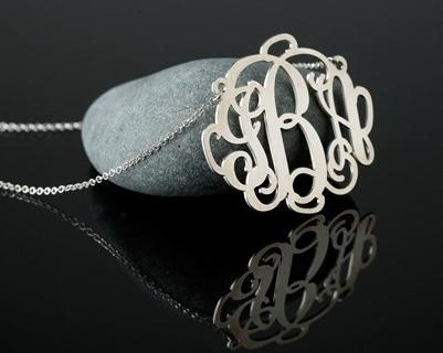 Sterling Silver or 18 kt. Gold Plated Monogram Necklace