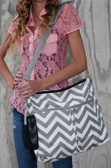 Double Chevron Print Diaper Bag