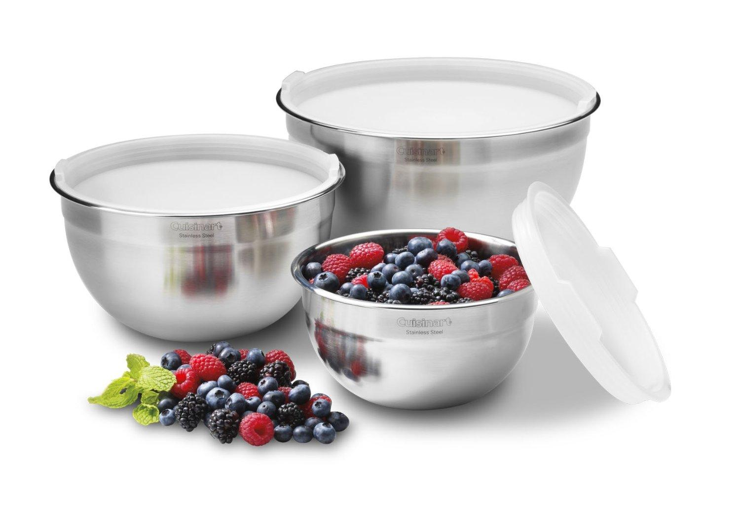Cuisinart Stainless Steel Mixing Bowls with Lids (Set of 3)