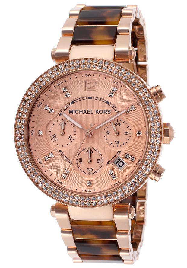a3ea180f67c Expired Michael Kors Women s Parker Chrono White Crystal Rose Gold Textured  Dial Rose Gold Tone IP SS   Tortoise Acrylic Watch