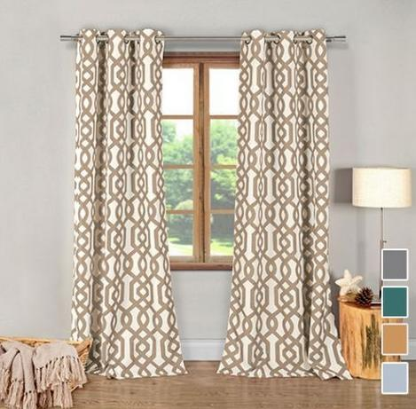 2 Pack of Designer Geometric Window Panel Curtains