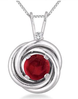 $233/4 Carat Ruby and Diamond Infinity Circle Pendant in .925 Sterling Silver @ Szul.com