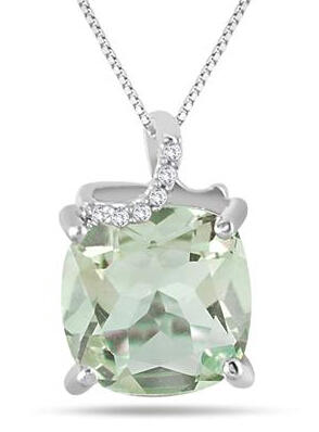 $243.75 Carat Green Amethyst and Diamond Pendant in .925 Sterling Silver
