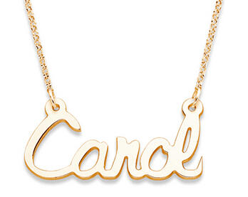 $2414K Gold Over Sterling Script Name Necklace