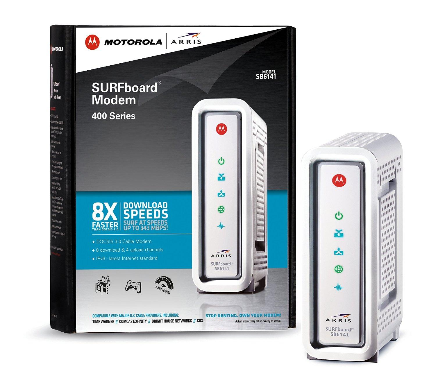 Motorola SURFboard DOCSIS 3.0 White Cable Modem - SB6141