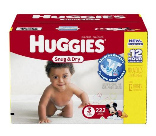 $28.59 Huggies Snug and Dry Diapers, Size 3, Economy Plus Pack, 222 Count