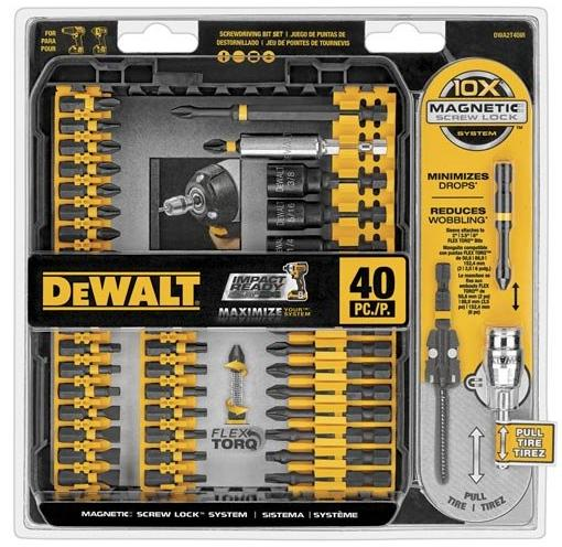 $19DEWALT DWA2T40IR IMPACT READY FlexTorq Screw Driving Set, 40-Piece