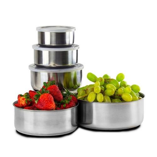 Home Solutions Stainless Steel Storage Bowl Set with Clear Plastic Lids