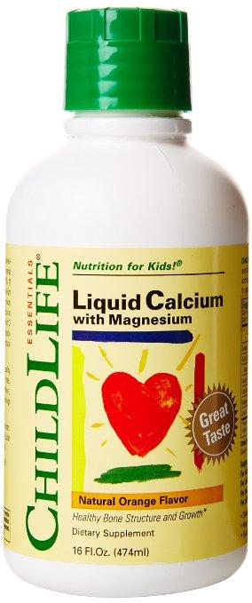 Child Life Liquid Calcium/Magnesium,Natural Orange Flavor Plastic Bottle