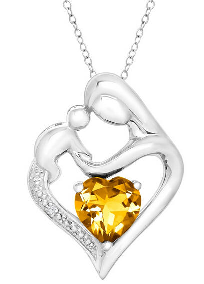 $241 1/10 ct Citrine Mother & Child Pendant with Diamond