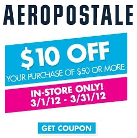 picture relating to Aeropostale Printable Coupon referred to as Printable Coupon against Aeropostale $10 Off $50 - Dealmoon