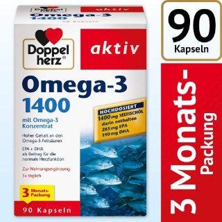 3个月用量Doppelherz 双心高剂量浓缩Omega-3深海鱼油1400毫克90粒装