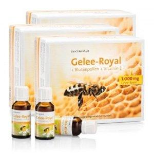 德国 Sanct Bernhard 天然蜂王浆+花粉+维生素E 口服液30支×3盒,足足三个月的量只要88.5欧,平均每天不到1欧