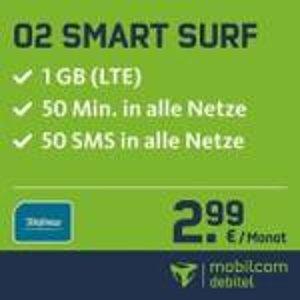 O2网络,50分钟免费电话,50条免费短信,1GB流量上网,月租只要2.99欧