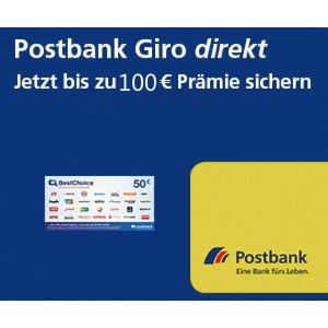 学生免年费Postbank Giro direkt 开户就送100欧 最后4天