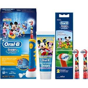 配有音乐时钟 90%以上的孩子刷牙时间变长了~Oral-B Stages Power儿童电动牙刷套装 米奇老鼠版 折后仅€48.43