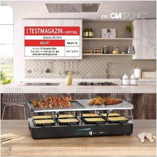 Clatronic RG 3518 Raclette烧烤炉可翻转铸铁板 带8个平底锅原价49,95欧!折后仅36,99欧!