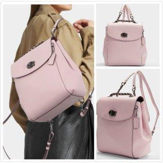 COACH 明星爆款绝美甜美樱花粉色链条小香风双肩包大号 原价450欧 折上折到手270欧!!