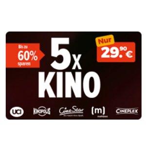 5张电影票 (可用于180家影院CineStar, CinePlex, UCI, Kinopolis) 只要 29.90€,平均每张不到6欧