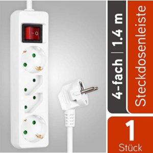 带有儿童安全锁的HEITECH 4路电源板, GS测试多个插座带开关,1.4米电缆,最大负载能力 3500W  仅售7.99欧