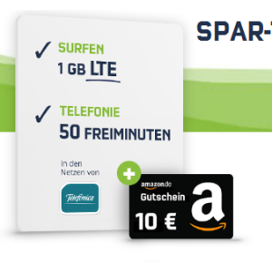50分钟电话,50条免费短信,1GB包月流量,月租只要3.99欧,送10欧Amazon代金券