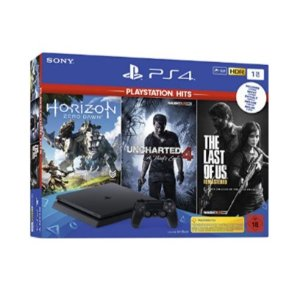 仅今天!PlayStation 4-Hits Bundle(1TB,黑色,薄型),包括三款热门游戏 :Uncharted 4, The Last of Us, Horizon Zero Dawn  仅售249.99欧