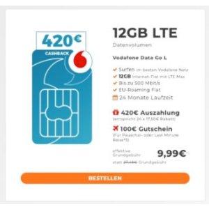 这个流量合同超级划算!Vodafone 12GB LTE 只要 9,99€/月还额外送 100€ 旅游代金券