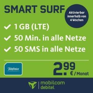 1GB包月上网,50条信息免费,50分钟电话免费,月租只要2.99欧!仅今天签约有效