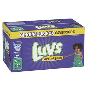 Luvs Ultra Leakguards Disposable Diapers, Size 6, 124 Count, ONE Month Supply @ Amazon