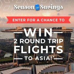 赢2张免费往返亚洲机票 价值$4000Priceline官网 中国南方航空特惠抽奖活动