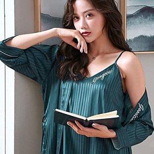 直邮含税到手价$65V领睡衣4件套 舒适丝滑垂坠质感 显白配色性感胸垫小心机
