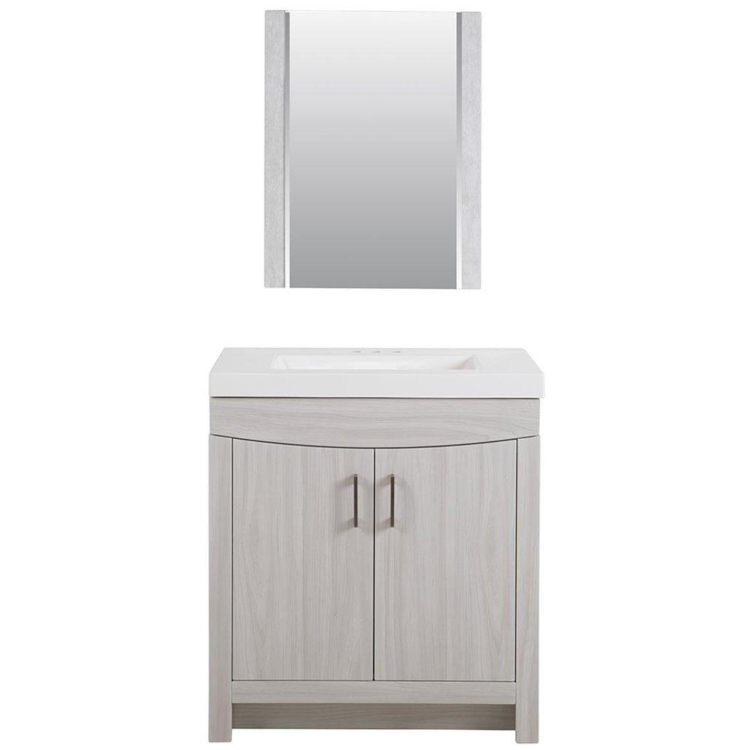 Cordana 白色木质纹路洗漱台套装促销 含镜子