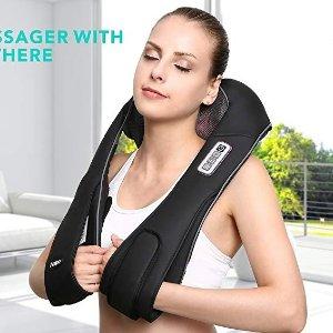 $59.99(原价$119.99)闪购:Naipo 红外加热 3D揉捏可调强度 充电式肩颈按摩披肩