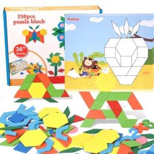 史低价:XREXS 木质儿童益智七巧板250块+双面拼图卡10张