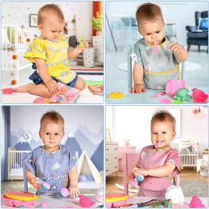 $16.99(原价$21.99)Lictin 宝宝短袖防水围兜 不同花色四个装 舒适纯棉袖
