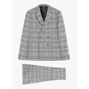 Topman2 Piece Grey Windowpane Check Skinny Fit Suit With Peak Lapels
