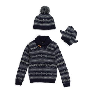 Toddler Boys Shawl Collar Sweater With Hat & Mittens | Kids | Marshalls