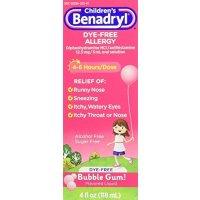Benadryl 儿童抗过敏口服液,无色素,口香糖味,4 Oz