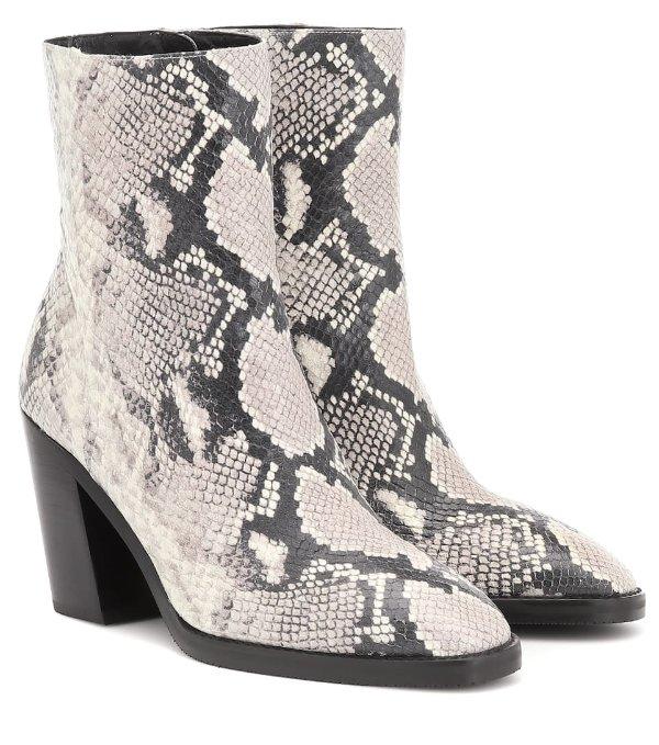 蛇纹齐踝靴