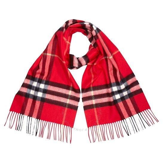 经典亮红色格纹围巾