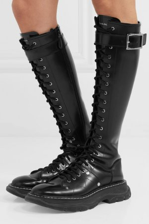 Glossed-leather exaggerated-sole knee boots