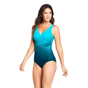 Lands' EndWomen's Slender Wrap One Piece Swimsuit with Tummy Control Print