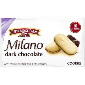 $4.48 每包低至$0.45Pepperidge Farm Milano 黑巧克力曲奇饼 10包独立包装