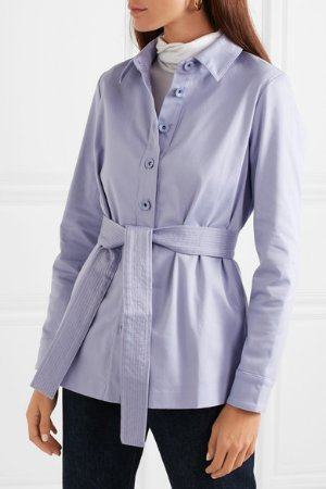 STAUD | Sabrina belted stretch-cotton jacket  | NET-A-PORTER.COM