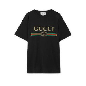 GucciOversized distressed printed cotton-jersey T-shirt