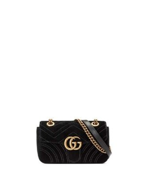 Gucci GG Marmont Mini Quilted Velvet Crossbody Bag, Black | Neiman Marcus