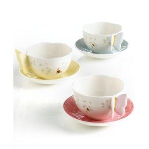 Lenox蝴蝶茶杯茶碟 黄色款