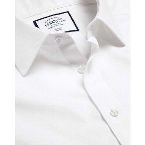 Charles TyrwhittNon-Iron Mini Herringbone Shirt - White