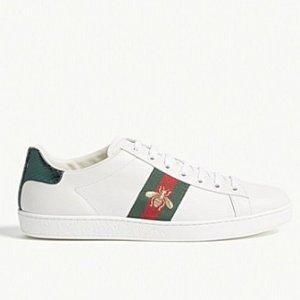 Gucci官网定价$620女士蜜蜂小白鞋